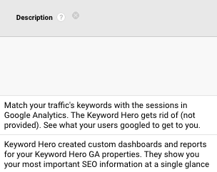 description dimension in google analytics with onpage hero