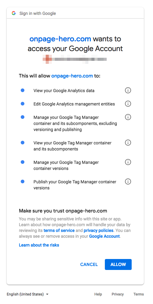 onpage hero permissions google