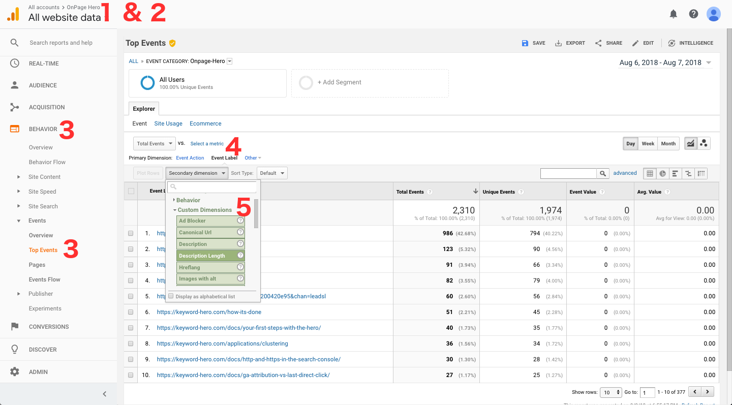 using Google Analytics as SEO suite with Onpage Hero