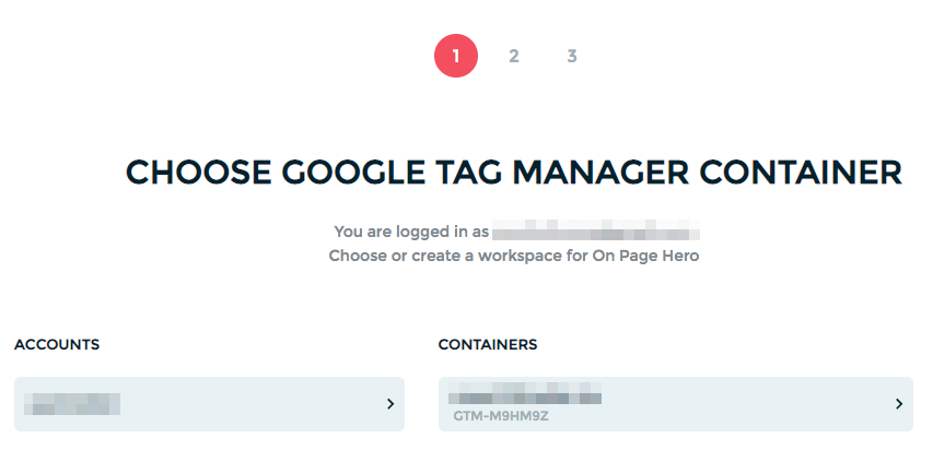 google tag manager container onpage hero