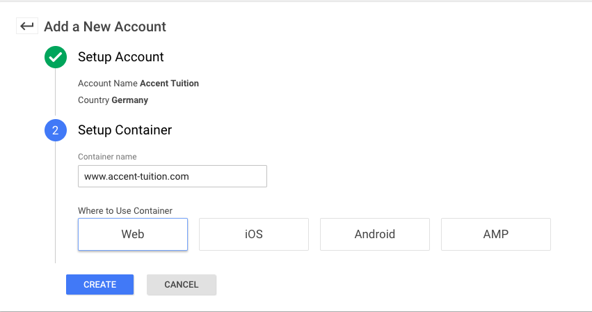 Sign up Page Google Tag Manager