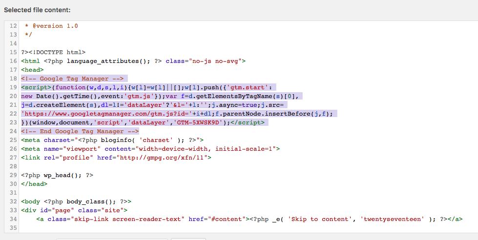 Paste header GTM code