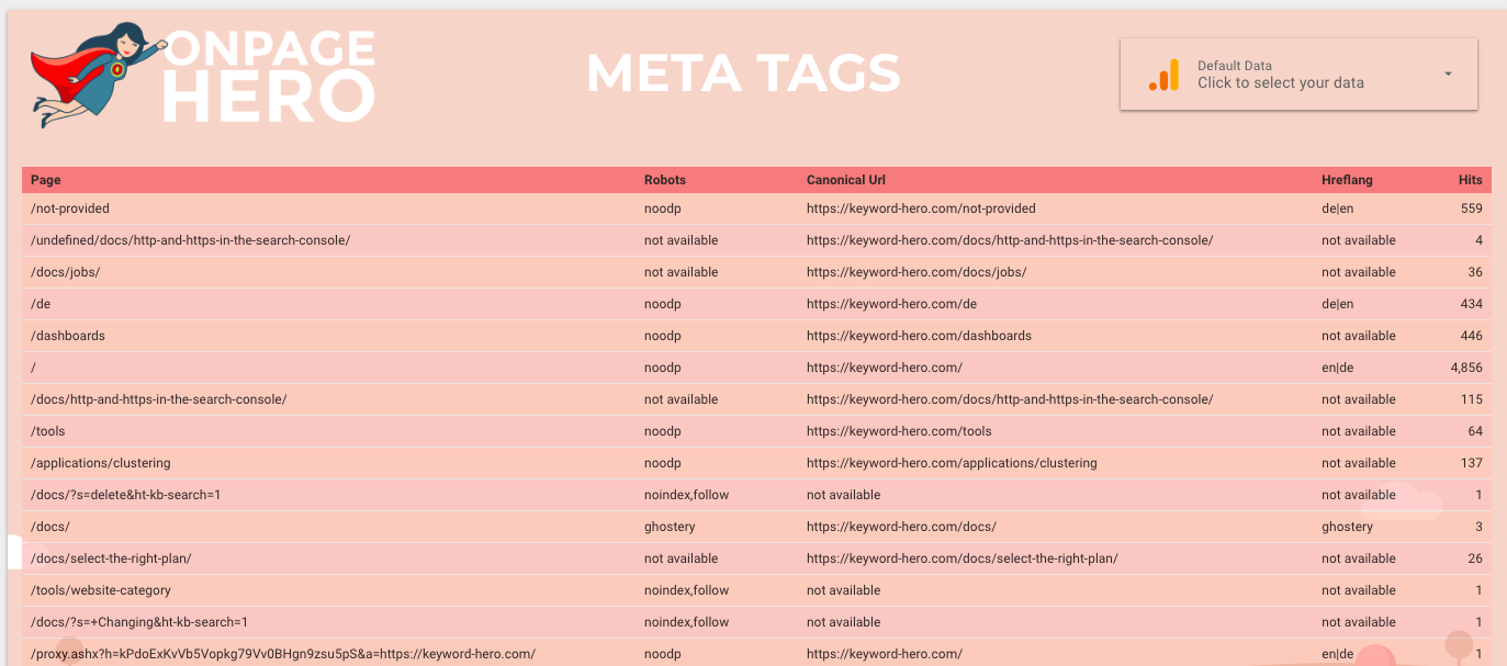Custom report meta tags