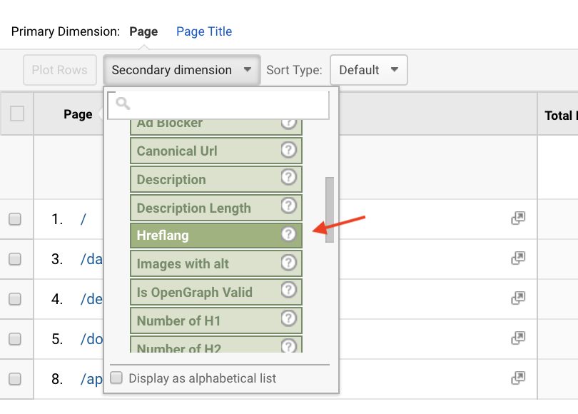Select hreflang tag dimension